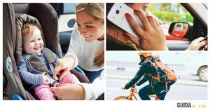 Cellulare al volante, sorpasso ciclisti e abbandono bimbi in auto: boom di multe e sanzioni